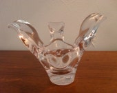 Art Glass Chrystal Dove Candle Holder / Candy Dish