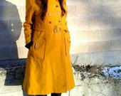 Vintage MUSTARD yellow wool MILITARY mod belted long jacket coat small 1960's