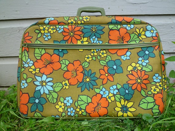 Vintage 60s Mod Flower Suitcase With Key, luggage, hippie, star burst interior, olive, colorful, bright blue, orange, yellow