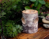 Wood and Glass Candle Holder with Clear Glass Insert