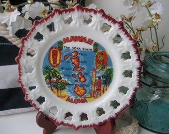 Vintage Hawaii Plate Vacation Beach Souvenir Red Wall Hanging