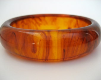 Root Beer Bakelite Bracelet Vintage Oblong Bangle -Tested