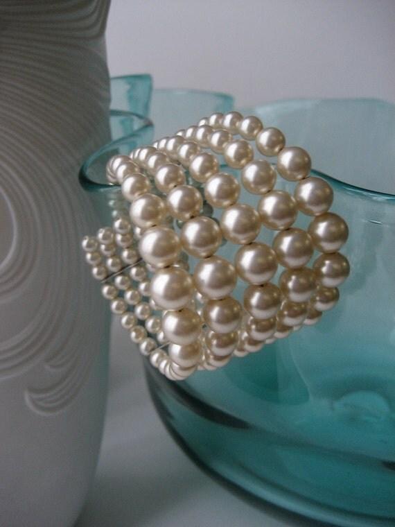 Vintage Pearl Cuff Bracelet - 5 Strand Graduated- STUNNING -
