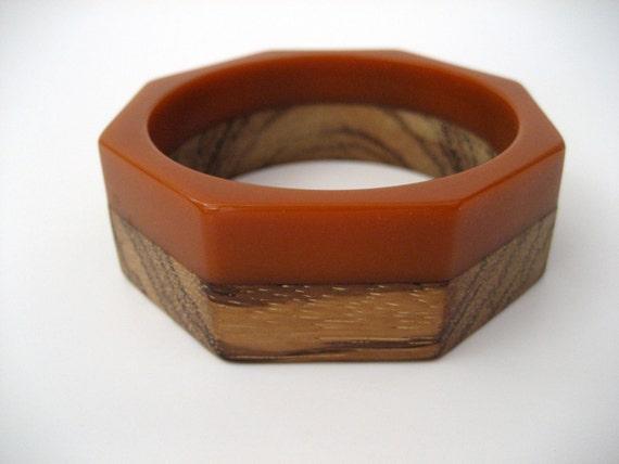 Butterscotch Bakelite and Wood Bracelet - Art Deco Octogon Bangle