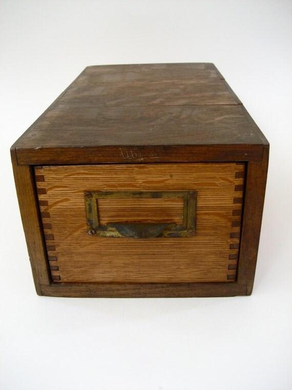 Vintage Card Catalog File - Single Drawer Quarter Sawn Oak and Dovetail marked Utility