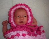 Cocoon Sack Wrap Blanket Flower Petal Hat Bonnet Photo Prop Pink Hand Crochet Baby Girl