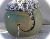 Yarn Bowl Green Rust Celedon Ceramic Stoneware OOAK
