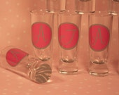 6 Shot Glasses - Circle Initial - Individually Wrapped - Bachelorette Party, Wedding Party