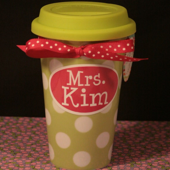 Green Ceramic Travel Mug with Silicone Top - Personalized