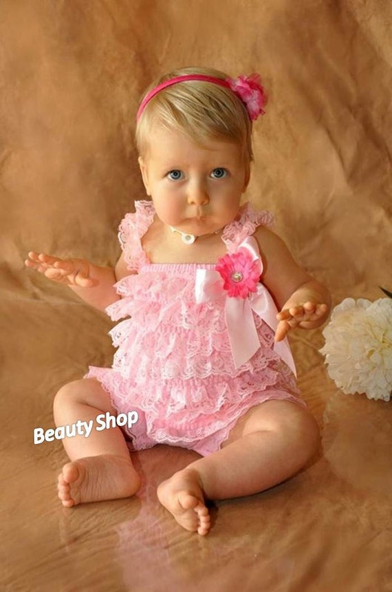 Pick ONE Baby Girl Lace Posh Petti Ruffle Rompers headband hair bow S M L XL