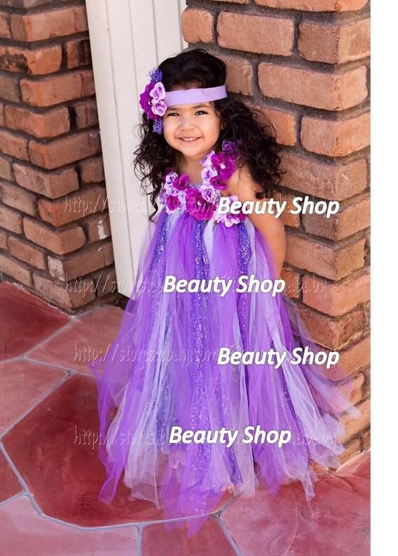 purple long tutu flower dress birthday party wedding photograph custom order all size