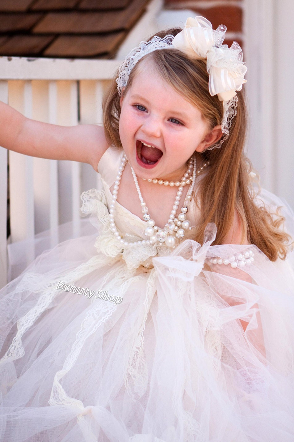 bride flower girl TuTu dress baby TuTu girl TuTu by BabyIsland