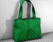 Pleats and Buttons Handbag in Kelly Green