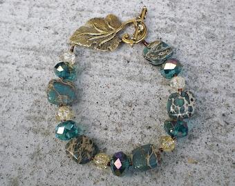 Gemstone Bracelet-Aqua Terra Jasper-Beaded Bracelet-Womens Jewelry
