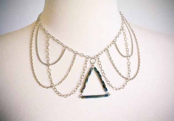 Layered Chain Necklace Glass Triangle Rocker Modern Peter Pan Collar