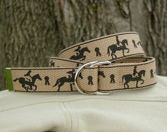 Girl's Belt - D-Ring closure, Eventing print in Ebony ink on Sand webbing