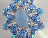 Blue Moonstone and Rhinestone Brooch