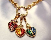 Vintage Erwin Pearl Necklace Long Gold Chain and Enamel Heart Charms