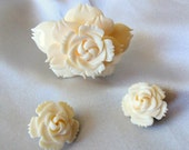 Vintage Carved Rose Brooch and Earring Set in Bone