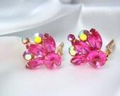 ON HOLD Vintage Pink Rhinestone Earrings