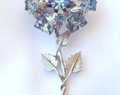 Vintage Brooch Blue Rhinestone and Silver Flower