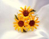 Vintage Brooch Sunflowers