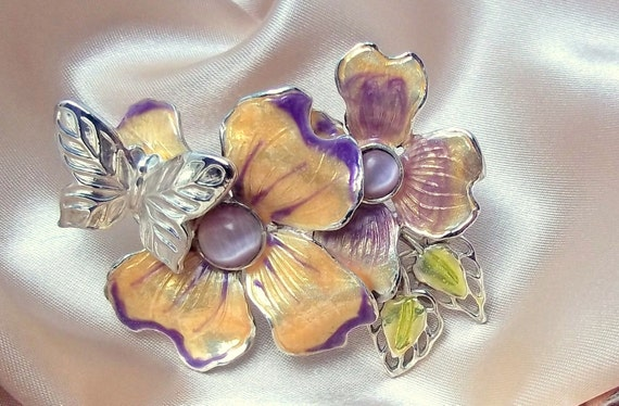 Vintage Brooch Flower and Purple Moonstone with Silver Butterfly
