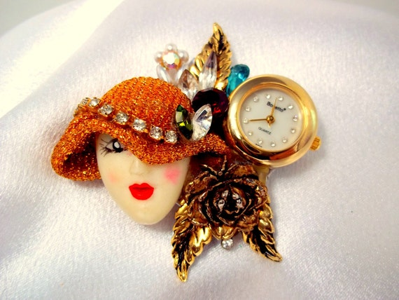 Vintage Bonetto Porcelain Lady Watch Brooch