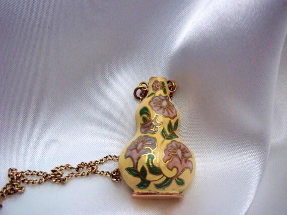 Cloisonne Vase Necklace Pendant Ivory with Flowers