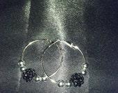 Small Hoop Earrings with Black Resin Bead