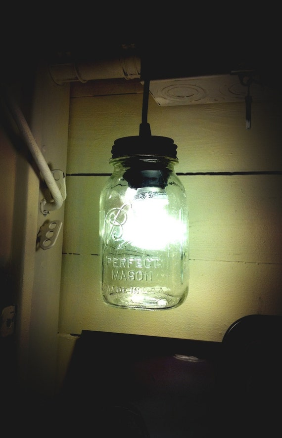 Mason Jar Light, Single Drop Chandelier