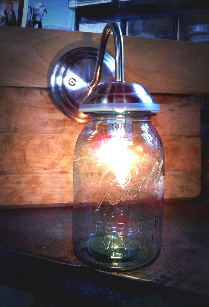 Mason Jar Wall Sconce Etsy : Mason Jar Wall Sconce Mason jar light