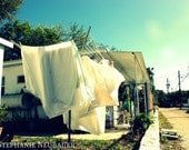 "Street Photography clothes line alley street sun white blue green ""Spring in the Suburbs"" 5x7"