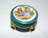 Vintage Limoges France - Hand Painted - Porcelain - Footed Trinket/Jewelry Box