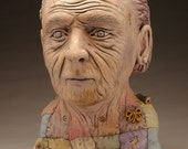 Quilt and Stitch Elder Figure, painted ceramic bust