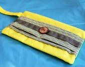 Lesportsac Fabric - Spring Clutch Bag with vintage wooden button