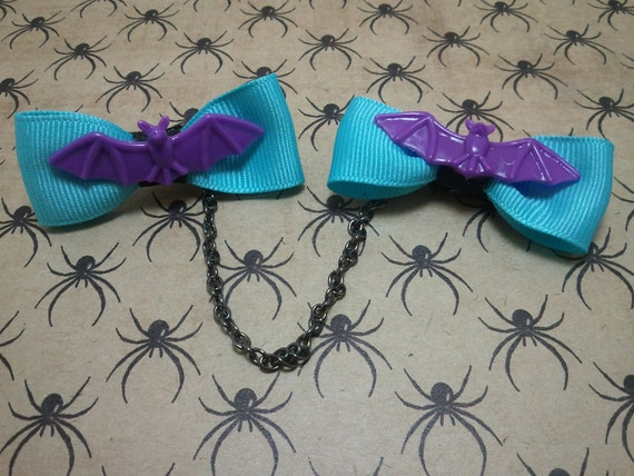 Rockabilly, Psychobilly,  Blue Bow Sweater Clips with Purple Bat Accents
