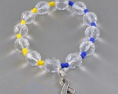 Down Syndrome Awareness Bracelet, Stretch Bracelet with Hope Ribbon Charm, with Donation