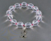 Breast Cancer Awareness Bracelet, Stretch with Hope Ribbon Charm, with Donation