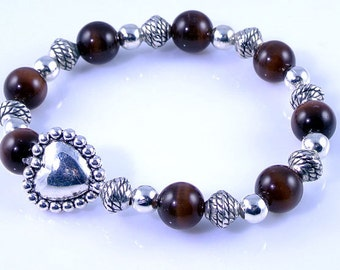 Brown Cats Eye Stretch Bracelet with Silver Heart Bead
