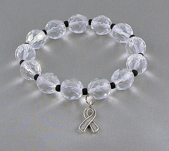 Melanoma Awareness Bracelet with Hope Ribbon Charm, with Donation