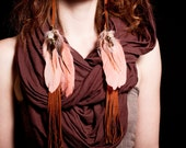 Fringed Leather & Feather Earrings