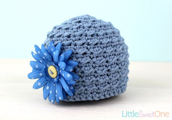 SALE - Blue Daisy - Knit Baby Hat, Photography Prop