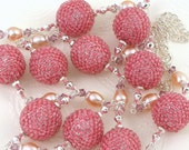 Long Beaded bead pink handmade necklace with pearls. FREE SHIPPING