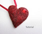 Polymer clay Tutorial. Red heart filigree pendant.