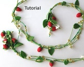 Polymer clay PDF Tutorial. Strawberry bouquet polymer clay necklace.