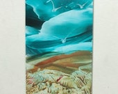 Original Beeswax Landscape Painting - AQUA SKYS -