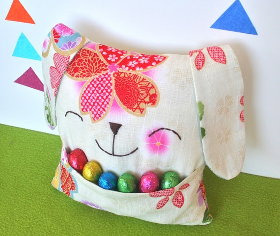 Easter Bunny Pillow Softie with Pouch - Beautiful Oriental Fabric