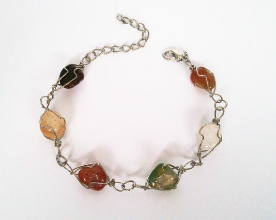 Multi Colored Wire Wrapped Agate Gemstone Bracelet