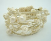 white freshwater pearl with knitting crochet bangle